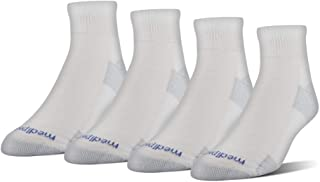 MediPeds unisex adult Nanoglide Quarter Socks, 4-pack Casual Sock