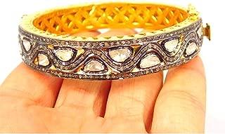 Pave Diamond Antique Rosecut Diamonds Bangle, 925 Sterling Silver Vermeil Polki Bangle, Bridal Designer Anniversary Diamond Bangle Gift