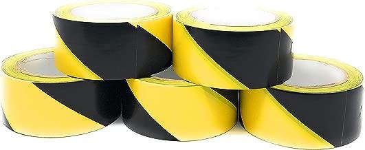 APT, (5 Rolls, 2'' Width X 36 Yds Length) PVC Marking Tape, Premium Vinyl Safety Marking, Dance Floor Splicing Tape, 6 Mil Thick (2'', 5 Roll, Yellow/Black)