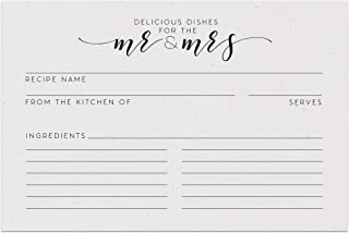 Newlywed & Bridal Shower Recipe Cards from Dashleigh, 48 Cards, 4x6 inches, Water-Resistant and Double-Sided (Vintage Newlywed)