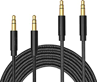 Aux Cable, T Tersely 2 Pack 1M+2M (3FT+6FT) 3.5mm Male to Male Auxiliary Audio Stereo Nylon Braided Cord for Car,Headphone...