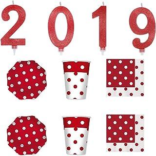 Party Store Web by Hogar Dulce Hogar Happy New año Kit Rojo Velas de 2019Adornos Fiesta año Mujer–CDC- (1Juego de 4Ve...