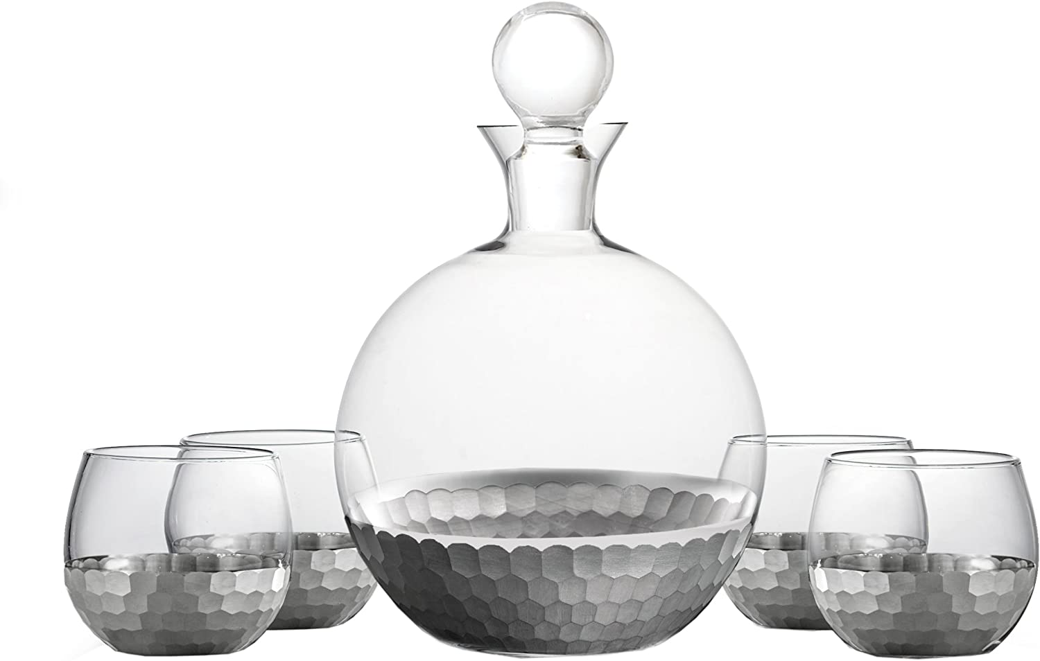 Fitz and Floyd 229707-5GB Daphne Decanter Set, Platinum
