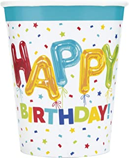 Unique Party 73106 - 9oz Happy Balloon Birthday Paper Cups, Pack of 8