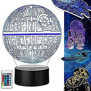Lámpara Star Wars 3D Illusion Night Light Lámpara 3D avec cable de carga y flash de 16 colores Cambia los regalos perfectos para niñosUSB recar