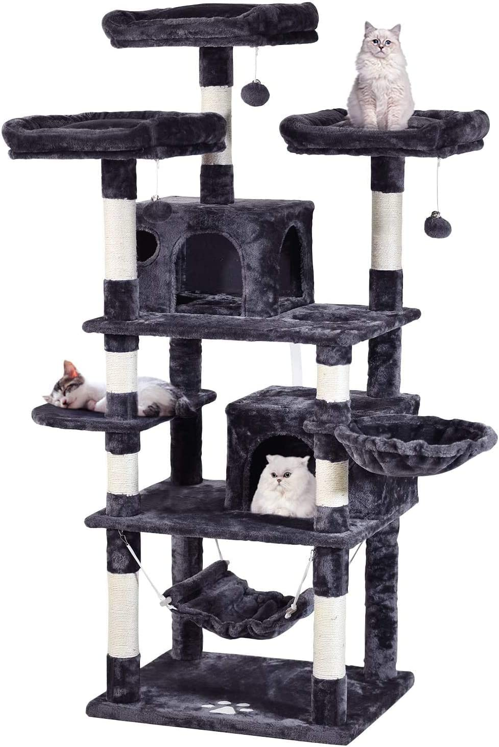 JISSBON 49'' Multi-Level Cat Tree Condo, Cat Activity Center Play Tower Furniture with Sisal Scratching Posts 2Pcs Plush Perches 2Pcs Cat Caves & Basket for Kittens Adult Large Cats
