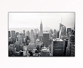 Le imágenes bilder24. de antena lavabo New York Skyline de Manhattan blanco y negro sobre lienzo y bastidor de alta calidad hecho a mano en Alemania.