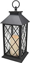 (Black) - YAKii 30cm Decorative Candle Lantern with LED Flameless Candle and Timer, Plastic LED Candle & Holder, Indoor & ...