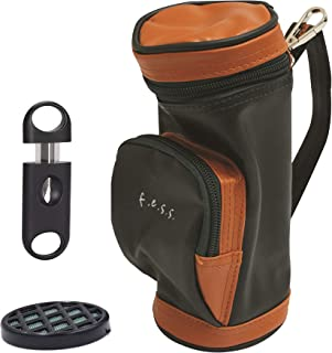 FESS Golf Bag Cigar Case Holder with Bag Clip Cigar Cutter and Humidifier
