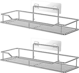 Étagère de salle de bain ou cuisine sans perçage pour rangement, adhésif, en acier inoxydable - Lot de 2
