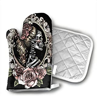 Wiqo9 Skull Cameo Tattoo Oven Mitts and Pot Holders Kitchen Mitten Cooking Gloves,Cooking, Baking, BBQ.