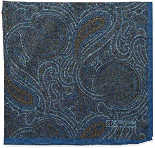 David Donahue Mens Silk Double Sided Paisley Pocket Square, Navy