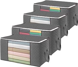 flintronic® Sac de Rangement, 4PCS Sacs à Vêtements Pliables, 84L Sacs de Rangement Anti-moisissures et étanches à l'humid...