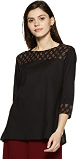 Amazon Brand - Myx Women's Cotton straight Short Kurti
