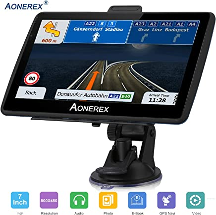car Navigation 7 inch Touch Screen + 8GB Voice Prompt GPS Navigation System Built-in Lifetime Maps,Advanced Lane Guidance and Spoken Turn-by-Turn Directions