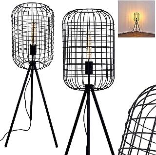Lámpara de pie Flambeau, metal en negro, E27, máx. 60 vatios, pantalla en óptica de jaula metálica, retro e interruptor de pie en el cable, adecuada para bombillas LED, ideal para salón