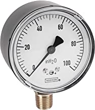 """NOSHOK 200 Series Steel Dry Dial Indicating Low Pressure Diaphragm Gauge with Bottom Mount, 2-1/2"""" Dial, +/-1.5% Accuracy, 0-100""""WC Pressure Range"""