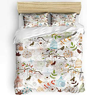 3 Piece Bedding Set Comforter/Quilt Cover Set California King, Beautiful Bird Cage Flower Leaves Duvet Cover Set with 2 Pillow Shams for Kids/Teens/Adults/Toddler