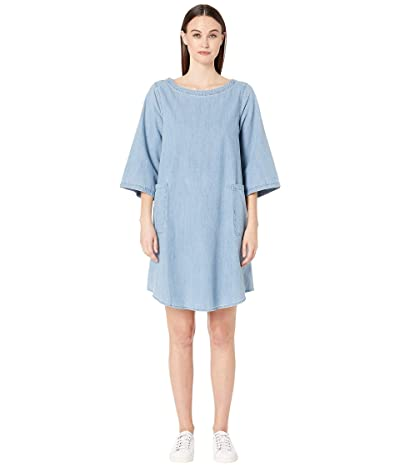 Eileen Fisher Bateau Neck 3/4 Sleeve K/L Dress (Blue Star) Women