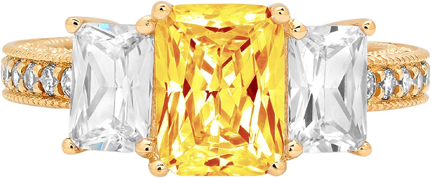 4.2ct Emerald Round Cut Solitaire 3 stone With Accent Natural Yellow Citrine Gemstone Ideal VVS1 Engagement Promise Statement Anniversary Bridal Wedding ring 14k Yellow Gold