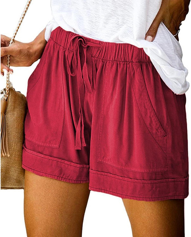 HCNTES Womens Shorts for Summer,Women's Soild Modest Loose Elastic Waisted Drawstring Casual Pockets Shorts