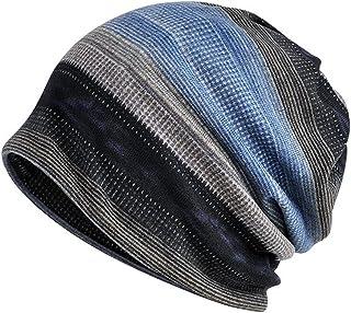 Jemis Womens Cotton Chemo Hat Beanie Scarf - Beanie Cap Bandana for Cancer (Black Gray Blue)