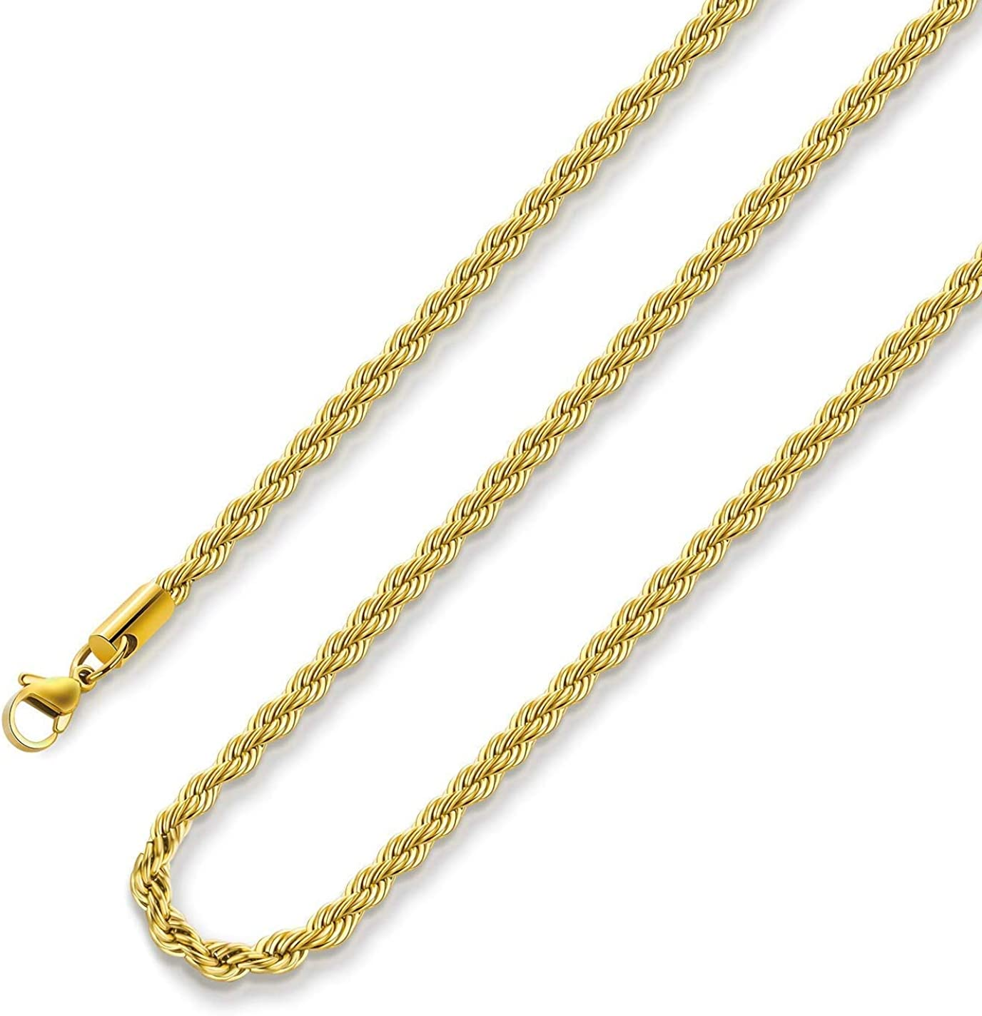 18k Real Gold Plated Rope Chain Necklace 2.5mm 8mm Stainless Steel Men Chain Necklace Women Chains 16 Inches 36 Inches