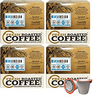 Fresh Roasted Coffee LLC, Water Process Decaf Indian Monsooned Malabar, Dark Roast, Single-Serve Cups, Capsules Compatible with 1.0 & 2.0 Single-Serve Brewers, 72 Count