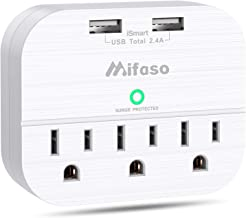 3-Outlet Surge Protector Power Strip, Multi Plug Outlet Extender with 2 USB Charging Ports 2.4 A, Portable Travel Wall Adapter - 490Joules White