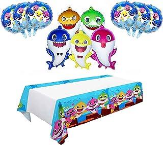 12PCS Shark Balloons|5PCS Shark Family Balloons|6PCS Shark Duplex Prints Foil Balloons| Shark Tablecloth|Shark Birthday De...