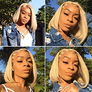 Blonde Lace Bob Wig #613 Lace Front Wigs Virgin Human Hair Pre Plucked 13x4 Lace Frontal Straight 150% Density Middle Part Short Cut Bob wigs for Black Women 12inch