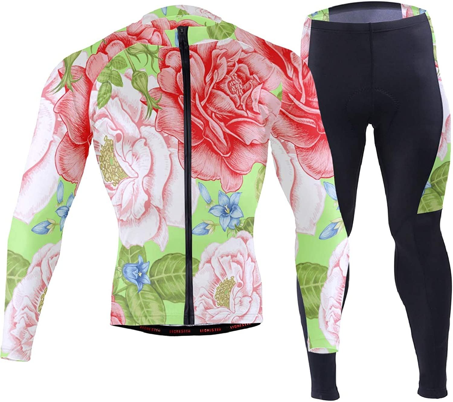 FAJRO colorful Flowers Sportswear Suit Bike Outfit Set Breathable Quick Dry 3D Padded Pants