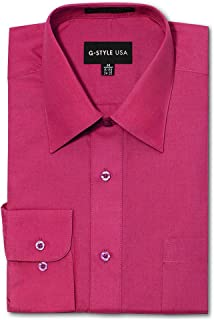 G-Style USA Men's Regular Fit Long Sleeve Solid Color Dress Shirts - Fuschia - X-Large - 36-37