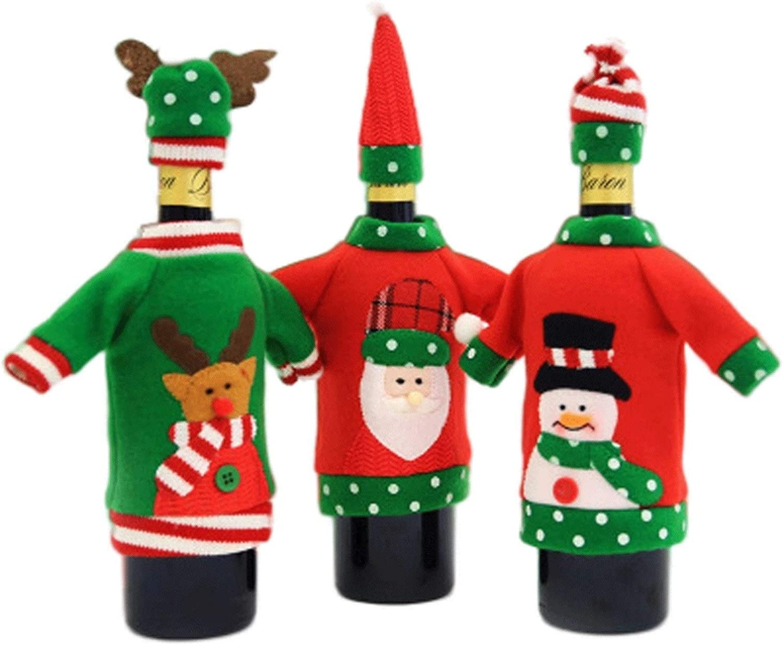 Conjuntos de accesorios de vino Botella de vino de Navidad Cubierta - 3pc Santa Claus muñeco de nieve y renos de vacaciones Vino de la botella cubierta con sombrero de Suéter feo de la Navidad Decorac