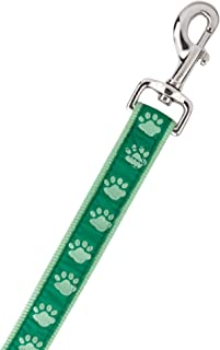 Guardian Gear Nylon Two-Tone Pawprint Dog Leash, 6-Feet x 1-Inch Lead, Green