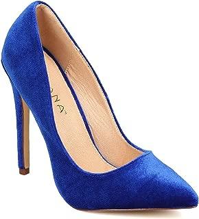 Women Velvet Pointy Toe Single Sole Stiletto Pump FB60