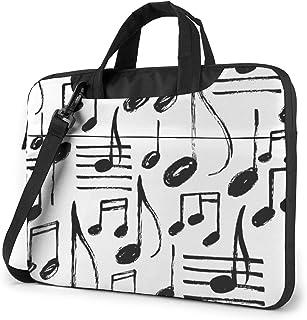"Hand Drawn Music Notes Laptop Bag Protective Case Computer Messenger Briefcase Women Men 13"""