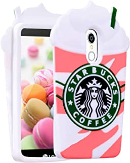 FunTeens Coffee Pink Case for Stylo 4/LG Q Stylus/LG Stylo 4 Plus/Stylus 4,3D Cartoon Animal Character Funny Fun Design Cute Soft Silicone Kawaii Cover,Cool Cases for Kids Boys Girls(LG Stylo4)