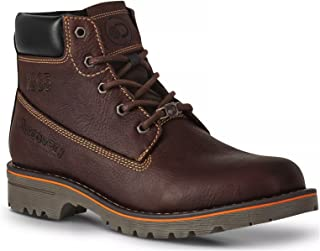 Men's Dark Brown Leather Lace-Up Cushioned Outdoors Boot