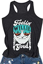 MOUSYA Women Tank Top, Feelin' Willie Good Letter Printed Graphic Vest Top Casual Tee, Gray