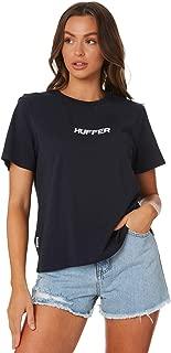 Huffer Women's Stella Tee Slant Crew Neck Short Sleeve Cotton Blue
