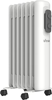 Ufesa RD1500A - Radiador de Aceite Portátil 1500W, 7 elementos, Diseño Slim, Termostato Regulable, 3 Niveles de Temperatura, Sistema Seguridad Antivuelco