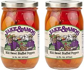 Jake & Amos Mild Sweet Stuffed Peppers - (2) 16 Ounce Jars