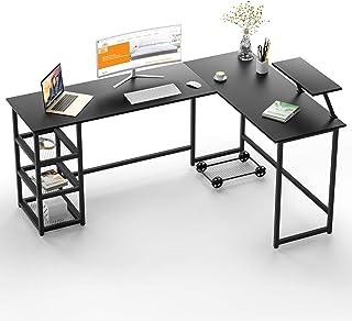 Maxzzz L Shaped Desk, Computer Desk Corner Gaming Desk with Storage Shelves, Multi-Usage Laptop Desk & Home Office Desk St...