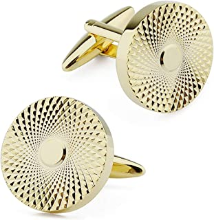 Round Men Cufflinks with Pyramide Pattern Set Novelty for Tuxedo Shirt Business Wedding Accessories Best Gift for Father H...
