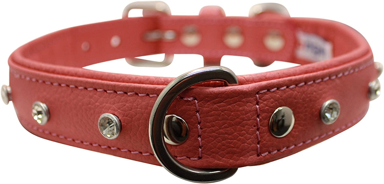 Angel Pet Supplies 41122 Rhinestones Bling Leather Dog Collar, Padded, DoublePly, Riveted Settings, 22  X 1 , Bubblegum Pink, 100Percent Genuine (Athens) for Neck Size  16.5 20 , Large