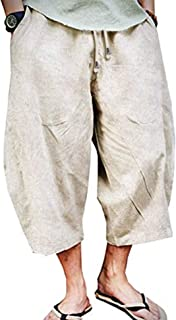 Mens Linen Loose Casual Lightweight Elastic Waist Yoga Beach Pants