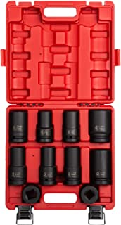 Sunex 5690A, 1 Inch Drive Heavy Duty Wheel Impact Socket Set, 10-Piece, SAE/Metric, Deep/Deep Thin Wall/Square/Controlled Depth, Cr-Mo Steel, Heavy Duty Storage Case