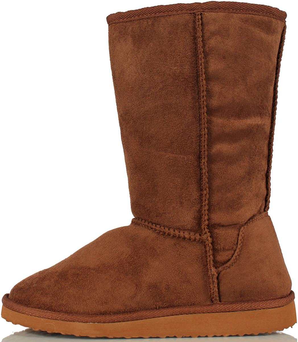 Soda D-Camel Faux Suede Mid Calf Comfy Eva Sole Padded Flat Boots