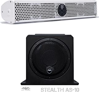 Wet Sounds Stealth Package - White Stealth 6 Ultra 200 Watt Sound Bar and AS-10 10